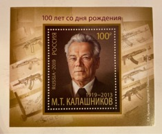 Russia 2019 100th Birth Anniversary M. Kalashnikov Weapon Military War Famous People Art Celebrations S/S Stamp MNH - 1992-.... Föderation