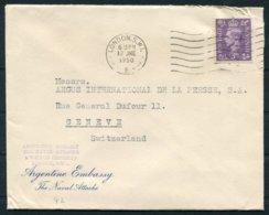1949 GB Argentina Embassy, Naval Attache, Wilton Crescent London Cover - Argus Press Agency, Geneva Switzerland - 1902-1951 (Rois)