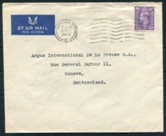 1949 GB British Celanese Ltd, Hannover Square, London Airmail Cover - Argus Press Agency, Geneva Switzerland - 1902-1951 (Rois)