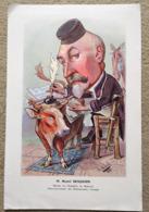Planche Caricature Médecine Le Docteur Henri BENJAMIN   Dessin B. Moloch 1908 Vétérinaire Boeuf Plume Encrier - Vecchi Documenti