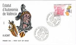 34390. Carta ALICANTE 1983. Estatuto De Autonomia De Valencia. Jaime I Conquisrador - 1931-Hoy: 2ª República - ... Juan Carlos I