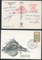 1966 / 73 France 2 X Mont St Michel Postcards / Franking Machine - Other