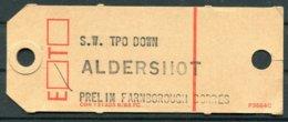 GB South Western Railways TPO Baggage Label. Aldershot Farnborough. Railway, Travelling Post Office - Railway