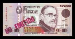 Uruguay 5000 Nuevos Pesos 1989 Pick 68A No Emitido SC UNC - Uruguay