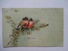 COUPLE  D ' OISEAUX    -  BRANCHE  DOREE       TTB - Birds