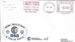 Italie Italy Italia 1985 Réunion ESA Création De Columbus Et Ariane Cachet Mécanique - Lettres & Documents