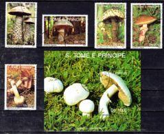 5.9.1992  Sẫo Tomé Und Principe, Pilze, Mi-Nr. 1348 - 1350 + 1352; Gestempelt, Los 51933 - Pilze
