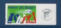"""FR Personnalisés YT 3936B """" Merci Les Bleus - Adhésif """" 2006 Neuf** - France"""