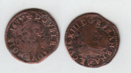 France Double Tournois; Louis XIII; 1635 St Palais (Ecu Aux Armes De Navarre Sous Le Buste); 1.7gr, CGKL#506 - 987-1789 Geld Van Koningen