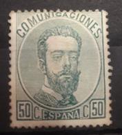 ESPAÑA.  EDIFIL 126 *.  50 CT VERDE AMADEO I.  CATÁLOGO  90 € - 1872-73 Reino: Amadeo I