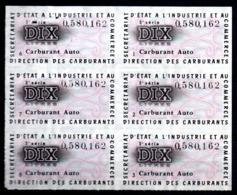 Colphi Feuillet 6 Tickets De Rationnement Carburant Automobile 10 Litres - Old Paper