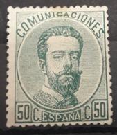 ESPAÑA.  EDIFIL 126 (*)  50 CT VERDE AMADEO I.  CATÁLOGO  90 € - 1872-73 Reino: Amadeo I
