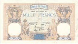 """Billet De 1000 F   """"Cérès Et Mercure"""" - 4 Août 1938 , R.3731/ 521 - 1871-1952 Anciens Francs Circulés Au XXème"""