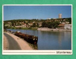 """77 Seine Et Marne Montereau Bords De Seine Avec Peniche """" Almaga """" Leger Pli Peu Visible Voir 3 Scans - Houseboats"""