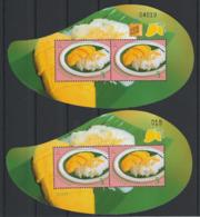 Thailande 2015 2 Blocs Emission Commune Singapour Gastronomie Dessert Thailand 2 S/S Joint Issue Singapore Desserts - Gemeinschaftsausgaben