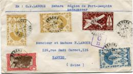 MADAGASCAR FRANCE LIBRE LETTRE CENSUREE DEPART BEHARA 6 FEVR 45 MADAGASCAR POUR LA FRANCE - Lettres & Documents