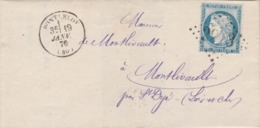 Yvert 60C Cérès Lettre Cachet PONTLEVOY Loir Et Cher 19/1/1876 GC 2973 à St Dyé Ambulant La Rochelle Paris - Marcophilie (Lettres)