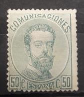 ESPAÑA.  EDIFIL 126 (*)  50 CT VERDE AMADEO I.  CATÁLOGO  90 € - Nuevos