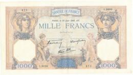 """Billet De 1000 F   """"Cérès Et Mercure"""" - 20 Juin 1940 , S.9899/ 472 - 1871-1952 Anciens Francs Circulés Au XXème"""