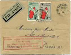 """MADAGASCAR LETTRE PAR AVION AVEC CACHET """"PREMIER VOYAGE MADAGASCAR-EUROPE....."""" DEPART TANANARIVE 3-11-36 POUR LA FRANCE - Lettres & Documents"""