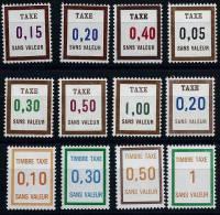 """FR Fictif Taxe YT FT22 à FT34 (ss 31) """" Lot De12 Timbres"""" 1972 à 1980 Neuf** - Phantomausgaben"""
