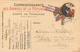 Carte De Franchise Militaire Du Soldat Boussioux Pour Bélesta Ariege En 1915 - Marcofilia (sobres)