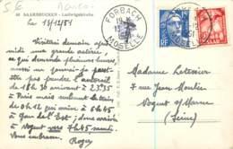 Marcophilie - Affranchissement Mixte 1951 - Timbre De Saar Et Marianne De Gandon 15F - Posté De Forbach Avec Taxe Raturé - Storia Postale