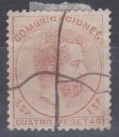 AMADEO 1872. 4 PESETAS OBLITERACIÓN MANUAL. AUTÉNTICO. 765 €. VER - 1872-73 Reino: Amadeo I