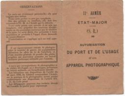 Permis De Photographier- 1916 - Etat Major - II° Armée - (port Et Usage D'un Appareil Photographique) Peu Commun - Vieux Papiers