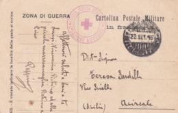 FRANCHIGIA - MILITARE  - CROCE ROSSA ITALIANA  3 SEZIONE AUTOMOB -  VIAGGIATA PER ACIREALE ( CATANIA ) 1915 - 1900-44 Vittorio Emanuele III
