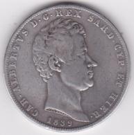 Regno Di Sardegna. 5 Lire 1839 P Torino – Testina D Aquila. Carlo Alberto, En Argent - Regional Coins