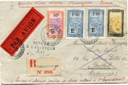 MADAGASCAR LETTRE RECOMMANDEE PAR AVION DEPART TANANARIVE 7-12-29 MADAGASCAR POUR LA FRANCE - Lettres & Documents