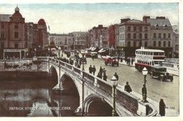 PATRICK STREET AND BRIDGE - CORK - COUNTY CORK SHOWING BUSES, LORRIES, CARS - Cork