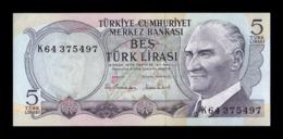 Turquía Turkey 5 Lira L.1970 (1976) Pick 185 SC UNC - Turkije