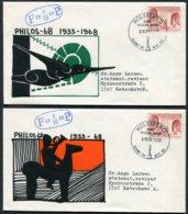 1968 Denmark PHILOS 68 Philatelic Exhibition X 4 Covers. Art Culture Nature. Holstebro Slania - Danimarca