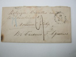 1866 , Auslandsbrief Nach Belgien Mit Transitstempel - 1857-1916 Empire