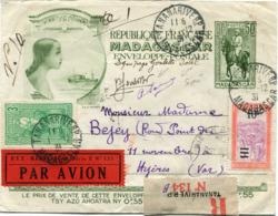 MADAGASCAR ENTIER POSTAL RECOMMANDE PAR AVION EQUIPAGE GOULETTE AVEC SIGNATURES DES PILOTES + AFFR. COMPLEMENTAIRE...... - Madagascar (1889-1960)