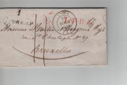 PR7565/ Précurseur LAC Oyonnax 1836 C.Nantua +Griffes Oyonnax 1 L.F.R.4. Port 11 > Belgique BRUXELLES C.d'arrivée - 1801-1848: Precursores XIX