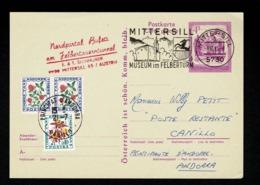 AUTRICHE Entier Postal CP 8-7-1981 Poste Restante CANILLO Arrivée 13-7-81 Taxe Fleurs Au Tarif 1,40F 21-7-1981 SUP !! - Segnatasse