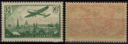 FRANCE 008a ** MNH Poste Aérienne  Vert Clair Avion Survolant Paris 1936 (CV 40 €) [GR] - Luftpost