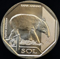Peru 2018 UNC 1 Sol. Fauna: Tapir Andino. Tapirus Pinchaque. - Peru