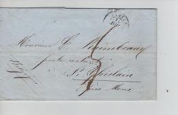 PR7569/ Précurseur LAC Daté Elbeuf 14/7/1849 Port 5 > St.Ghislain Verso Divers Cachets Ambulants Marques D'entrées - 1801-1848: Precursores XIX