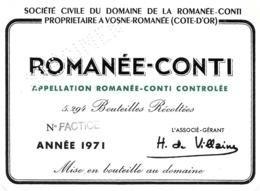 """ÉTIQUETTE DE VIN """"ROMANÉE-CONTI 1971"""" - SPÉCIMEN - Etiquetas"""