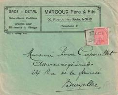 "B  Noodstempel : Firma Bf Met PZ (B)  NOODSTEMPEL ""MONS 1 / BERGEN 1 "" In Kader (Index 5) - Postmark Collection"