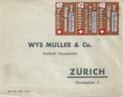 Brief  Baden - Zürich  (Dreierstreifen Altstoffe Z38b)         1942 - Suisse