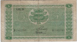 FINLAND 5 MARKKAA 1939 P-69a USED SIGN. RANGELL & ASPELUND [FI069a7] - Finland