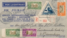 Nederlands Indië - 1933 - 4x AMVJ Op R-Pelikaanbrief Van Batavia Naar Den Haag - Inhoud: Rose Reklame Leaflet - Niederländisch-Indien
