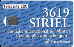 CARTE-PUBLIC-F515A Collé-T2G-120U-10/94-SO5-3619 SIRIEL - Série A4B390002-UTILISE-TBE - Frankrijk