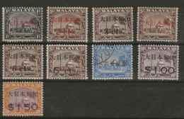Malaysia - Japanese Occupation, 1943, J288 - J296, Complete Set Of 9, MNH (except J289-J292 Mint Hinged, J294 Used) - Gran Bretaña (antiguas Colonias Y Protectorados)