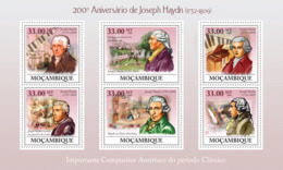 Mozambique 2009 MNH - 200th Anniversary Of Joseph Haydn (1732-1809). Sc 1893, YT 2740-2745, Mi 3392-3397 - Mozambique